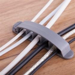 (178656)  Клипса на 6 кабелей с системой крепления Espada EK63 (упаковка 3 шт.) цвет серый - фото 13631