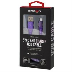 (1016594) Кабель Crown USB - microUSB CMCU-3102M violet; круглый; в тканевой оплётке; коннекторы Метал; ток 2А; 100 см; цвет фиолетовый - фото 29304