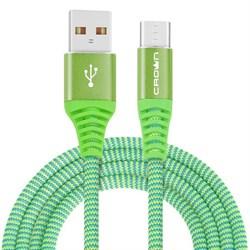 (1016593) Кабель Crown USB - microUSB CMCU-3102M green; круглый; в тканевой оплётке; коннекторы Метал; ток 2А; 100 см; цвет зелёный - фото 29305