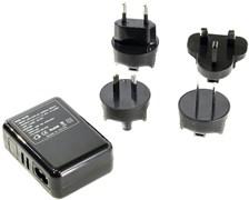 (176136) Espada E-04UU черный, универсальный сетевой переходник для розеток (вилок)  EU, US, RU (A, C, G, i) с 4 USB портами 2,1А
