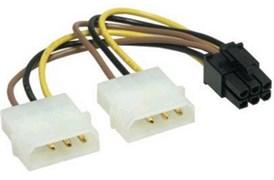 (180164)  Кабель питания-сплитер molex 3pin (M) + molex 3pin (M) -> PCI express 6pin (F)