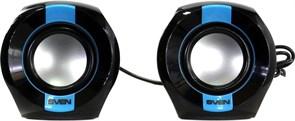(169245) Колонки Sven 150 пластиковые, USB, 2x2,5 Вт, черные/синие