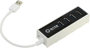 (1007404) Концентратор 5bites HB34-306BK 4*USB3.0 / USB 20CM / BLACK+WHITE