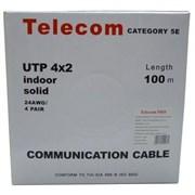 (60769)  Кабель витая пара UTP Telecom (UTP4-TC100C5EN/PRO-CCA-IS), бухта  100м, Cat.5E, 4 пары