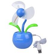 (1007670) OXION OFN005 USB вентилятор-цветок  с разноцветными диодами настольный, голубой (OFN005BL)(25)(50)