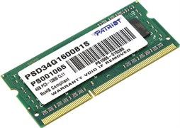 (1008159) Память DDR3 4Gb 1600MHz Patriot PSD34G160081S RTL PC3-12800 CL11 SO-DIMM 204-pin 1.5В