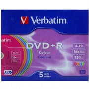 (1008311) Диск DVD+R Verbatim 4.7Gb 16x Slim case Color (43556)
