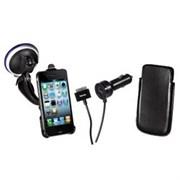 (1004204) Комплект Hama H-106645  для iPhone 4/4S держатель на присоске+авто.зарядное устр.+кож. чехол черн