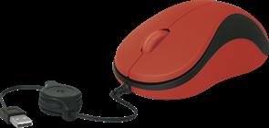 (1009321) Мышь Defender #1 MS-960, скручивающийся кабель, красная  (52961)