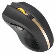 (1009611) Мышь Oklick 495MW черный/золотистый оптическая (1600dpi) беспроводная USB (6but)