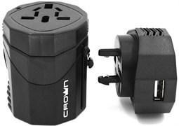 (1009703) Сетевой адаптер - переходник CROWN CMDC-IP5-030( для розеток: Евро, Великобритания, США/Япония, Австралия/Китай; USB выход: 5V/1A)