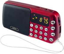 (1009668) Perfeo мини-аудио СИНИЦА FM, MP3 USB/TF часы, Repeat,цифровые кнопки, USB/1200mAh, красный (i70-RED)