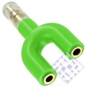 (1009635) Разветвитель для наушников на два гнезда (зеленый) техупаковка