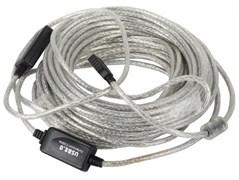"""(1009882) OXION кабель-удлинитель USB2.0 15m AM-AF с усилителем сигнала, серия """"Стандарт"""", двойной экран"""