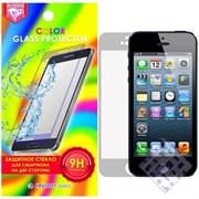 (1010024) Стекло защитное цветное Krutoff Group для iPhone 5/5S на две стороны матовое (silver)