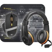 (206817) Набор Defender Warhead MPH-1600, черный, игровая мышь + гарнитура + коврик (52706)