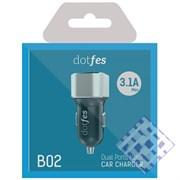 (1010105) АЗУ Dotfes B02 2xUSB, 3.1A, silver