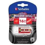 (1017909) Флеш Диск Verbatim 16Gb Mini Cassette Edition 49398 USB2.0 красный/рисунок