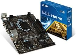 (1010339) Материнская плата MSI B250M PRO-VD Soc-1151 Intel B250 2xDDR4 mATX AC`97 8ch(7.1) GbLAN+VGA+DVI