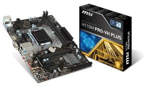(1010538) Материнская плата MSI H110M PRO-VH PLUS Soc-1151 Intel H110 2xDDR4 mATX AC`97 8ch(7.1) GbLAN+VGA+HDM