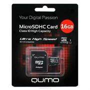 (1010462) Micro SecureDigital 16Gb QUMO QM16GMICSDHC10U1 {MicroSDHC Class 10 UHS-I, SD adapter}