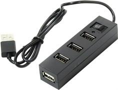(198718) Концентратор Orient TA-400, USB2.0, 4xPort, выключатель, разъем доп.питания, черный