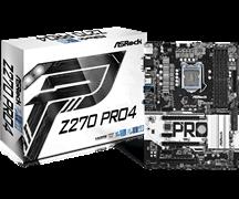 (1010922) Материнская плата Asrock Z270 PRO4 Soc-1151 Intel Z270 4xDDR4 ATX AC`97 8ch(7.1) GbLAN RAID+VGA+DVI+