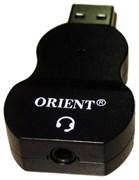 (206608)  Переходник USB 2.0 -> Audio mini Jack 3.5mm (F), Orient AU-03 (для подключения телефонной гарнитуры к порту USB)