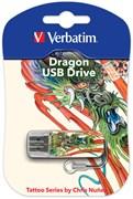 (1011150) Флеш Диск Verbatim 16Gb Mini Tattoo Dragon 49888 USB2.0 белый/рисунок