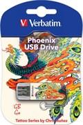 (1011149) Флеш Диск Verbatim 16Gb Store n Go Mini Tattoo Edition Phoenix 49887 USB2.0 белый/рисунок