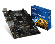 (1011187) Материнская плата MSI B250M PRO-VH Soc-1151 Intel B250 2xDDR4 mATX AC`97 8ch(7.1) GbLAN+VGA+HDMI