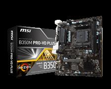 (1011358) Материнская плата MSI B350M PRO-VD PLUS Soc-AM4 AMD B350 2xDDR4 mATX AC`97 8ch(7.1) GbLAN RAID+VGA+D