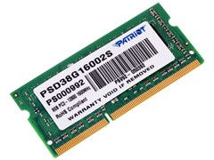 (1011456) Модуль памяти для ноутбука 8GB PC12800 DDR3 SO-DIMM PSD38G16002S PATRIOT 1.5v