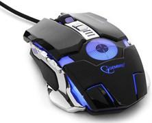 (1011518) Мышь игровая Gembird MG-530, USB, черный, 5 кнопок+колесо-кнопка+кнопка огонь, 3200 DPI, подсветка 3 цвета, программное обеспечение, кабель тканенвый 1.75м