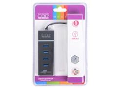 (1011582) Концентратор USB 3.0 CBR CH 157, 4 порта. Поддержка Plug&Play. Длина провода 50+-3см. LED-подсветка., CH 157