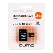 (1011653) Карта памяти QUMO MicroSDHC 16GB Сlass 6 с адаптером SD, бело-оранжевая картонная упаковка