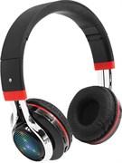 (1011643) Bluetooth гарнитура Qumo Freedom Style  (BT-0014), черно-красный, накладная закрытая,  Bluetooth 4.2, 250 мА-ч, до 6х часов в режиме разговора, подсветка чашек, воспроизведение с SD карт