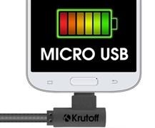 (1012385) USB кабель micro Krutoff U3-100m Cloth (1m) черный