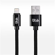 (1012439) USB кабель Ubik UL01 Lightning Carbon 2A (1,2m) black