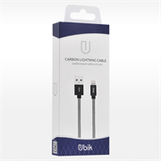 (1012438) USB кабель Ubik UL01 Lightning Carbon 2A (1,2m) white
