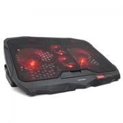 "(1012949) Подставка для ноутбука CROWN CMLS-01 black ( до 17"", кулеры: D125mm*2+ D70mm*2,красная led подсветка, регулятор скорости, 5 уровней наклона Размер 390*280*28мм)"