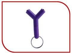 (1013235) Разветвитель-брелок для наушников на два гнезда (фиолетовый) техупаковка