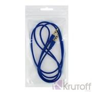 (1013230) Аудио кабель AUX (Jack3.5mm - Jack3.5mm) синий 1m, техупаковка