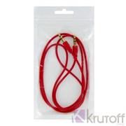 (1013228) Аудио кабель AUX (Jack3.5mm - Jack3.5mm) красный 1m, техупаковка