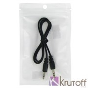(1013227) Аудио кабель AUX (Jack3.5mm - Jack3.5mm) черный 0.35m, техупаковка