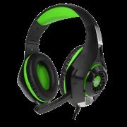 (1013311) Гарнитура игровая CROWN CMGH-101T Black&green (Подключение jack 3.5мм 4pin+ адаптер 2*jack spk+mic,Частотный диапазон: 20Гц-20,000 Гц ,Кабель 2.1м,Размер D 250мм, регулировка громкости, микрофон на ножке)