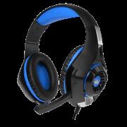 (1013310) Гарнитура игровая CROWN CMGH-101T Black&blue (Подключение jack 3.5мм 4pin+ адаптер 2*jack spk+mic,Частотный диапазон: 20Гц-20,000 Гц ,Кабель 2.1м,Размер D 250мм, регулировка громкости, микрофон на ножке)