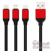 (1013438) USB кабель 3в1 (iPhone 5 / micro USB / Type-C) 1.2м, черный, техупаковка