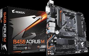 (1013358) Материнская плата GigaByte B450 AORUS M Socket AM4, AMD B450, 4*DDR4, 2*PCI-E, SATA 6Gb / s + RAID, M.2, ALC1220 8ch, GLAN, Wi-Fi, BT, USB3.1, DVI-D + HDMI, mATX