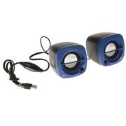 (1013840) Акустическая система 2.0 RITMIX SP-2030 Black+Blue (5 Вт., AUX, регулятор громкости, питание USB)